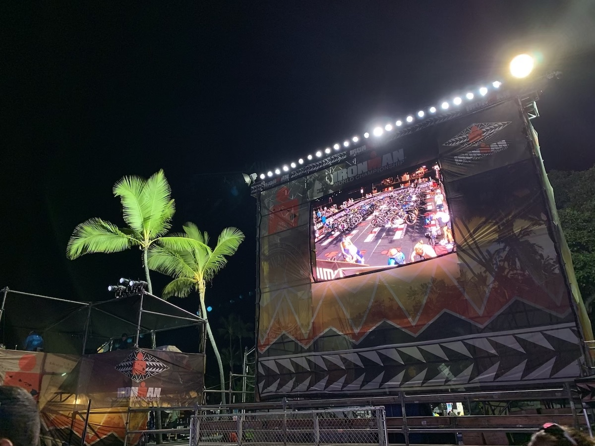 pantalla seguimiento triatlón del ironman kona hawaii